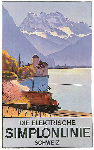 Simplon Railway - 1928 poster, showing the line passing the Chateau du Chillon