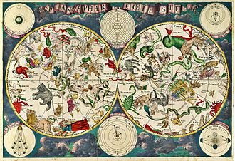Natural philosophy - A celestial map from the 17th century, by the Dutch cartographer Frederik de Wit