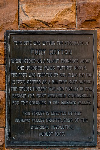 Fort Dayton - This plaque on the County Treasurer's Office in Herkimer, New York references Fort Dayton. The site was located within the fort's stockade.