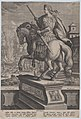 Plate 8- equestrian statue of Otho, seen from behind, his death scene in the background with him stabbing himself at right and the burning of his body at left, from 'Roman Emperors on Horseback' MET DP877297.jpg