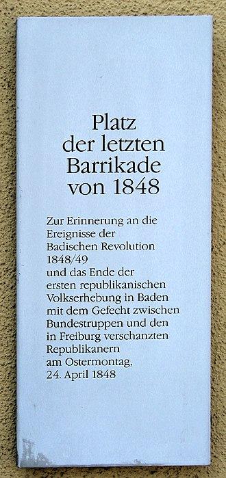 Storming of Freiburg - Commemorative plaque