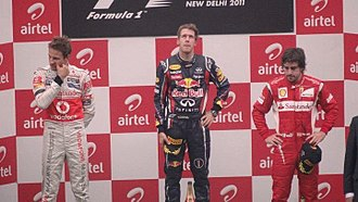 Buddh International Circuit - Image: Podium winners of 2011 Indian Grand Prix