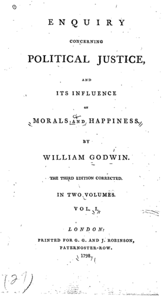 Enquiry Concerning Political Justice - Title page from the third edition of Political Justice