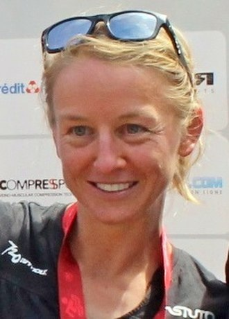 Emma Pooley - Pooley on the podium after winning the 2017 Ventouxman trialthlon