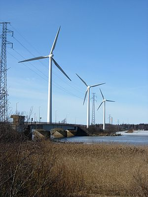 Windmills in Pori, Finland. 1 MW.