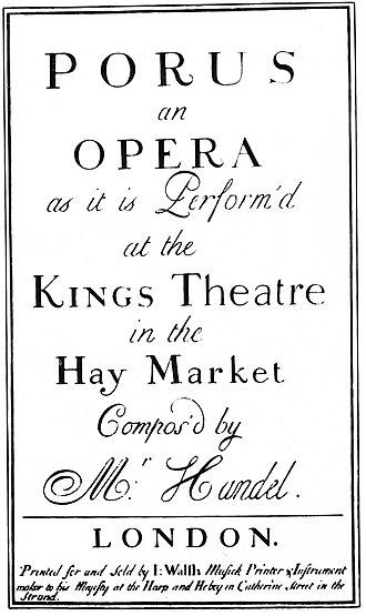 Poro (opera) - Poro Title page of score, 1731