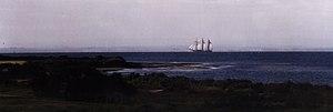 Portarlington, Victoria - The schooner Alma Doppel sailing off Grassy Point at Portarlington in 1997.