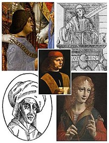 Portrait of a Musician and four proposed candidates of the subject.