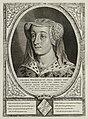 Portret van Jacoba van Beieren, gravin van Holland, Zeeland en Henegouwen. Ze draagt een sluier en een hoofdtooi, versierd met parels en edelstenen. De omlijsting is versierd met het alliant, NL-HlmNHA 1477 53012922.JPG