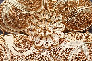 Filigree Form of intricate metalwork used in jewellery