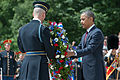President Barack H. Obama, right, lays a wreath at the Tomb of the Unknowns in recognition of Memorial Day May 27, 2013, at Arlington National Cemetery in Arlington, Va 130527-A-VS818-154.jpg