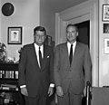 "President Kennedy with Personal Friend, Mr. Kirk Lemoyne ""Lem"" Billings.jpg"