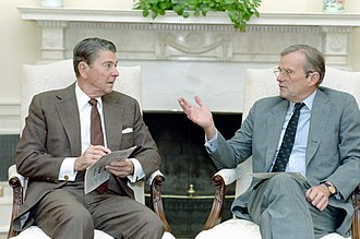 Brady with President Ronald Reagan in 1988 President Ronald Reagan Meeting with Nicholas Brady in The Oval Office.jpg