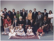 President and Mrs. Bush pose with their children, their spouses and grandchildren for a family portrait in Houston... - NARA - 186455.tif