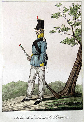 Frock coat - German Landwehr soldier in frock coat, 1815