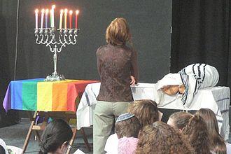 Homosexuality and Judaism - An egalitarian orthodox Pride minyan held in Tel Aviv on the second Shabat of Hanukkah.