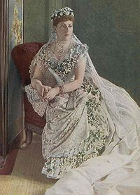 Princess Beatrice in her wedding dress, Osborne, 1885. Beatrice wore her mother's wedding veil of Honiton lace