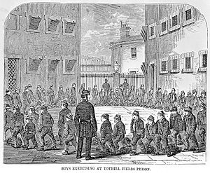 Tothill Fields Bridewell - Boys exercising at Tothill Fields Prison