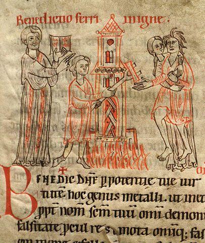 Miniatura medieval que muestra la ordalía del hierro candente.