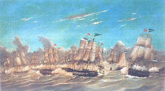 Cisplatine War - Brazilian Navy and Argentine Navy in naval battle Punta Colares.