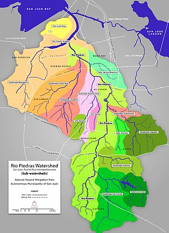 Geography of Puerto Rico - Map of the Río Piedras Watershed, also known as the San Juan Bay Estuary Watershed (2015), and ends in the San Juan Bay