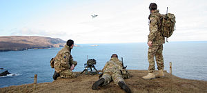 Forward air control - RAF Regiment Forward Air Controllers from the Air Land Integration Cell, based at RAF Honington, guide a Typhoon from 6 Squadron onto their target at the Cape Wrath practice range in Scotland.