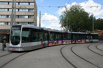 Trams in Rotterdam - A Citadis 302 tram outside Rotterdam CS, 2008.