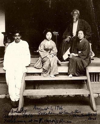 "Mukul Dey - Dey (far left) with Rabindranath Tagore, ""Kiyo-san"" and another Japanese lady at Tomitaro Hara's residence Sankei-en in Yokohama, Japan; on 1 August 1916."