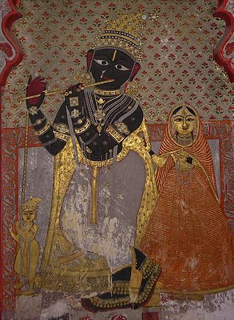 Radha - 14th-century fresco of Radha Krishna in Udaipur, Rajasthan