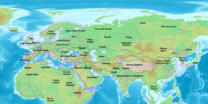 Map of Eurasia showing the trade network of the Radhanites, c. 870 CE, as reported in the account of ibn Khordadbeh in the Book of Roads and Kingdoms.