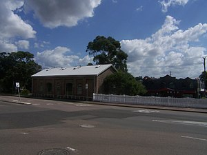 Wallsend, New South Wales - Railway Goods Shed building (1860s and 1870s) and a Newcastle Wallsend Coal Company NWCC wagon (to the right)