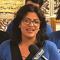 Rashida Tlaib is seen at her campaign headquarters in Detroit, Michigan, Aug.7 2018 (cropped square).jpg