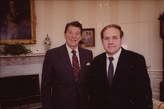 James with President Ronald Reagan in 1981 Reagan Contact Sheet C1331 (cropped2).jpg