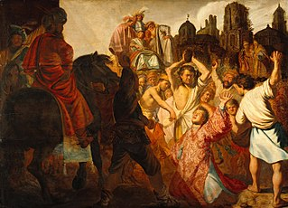 <i>The Stoning of Saint Stephen</i> Painting by Rembrandt
