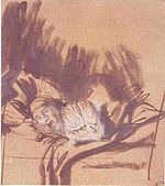 Rembrandt Sick Woman Lying in Bed, Probably Saskia.jpg