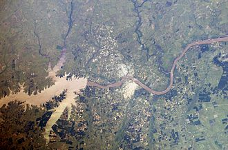 Salto Grande Dam - The dam as seen from space