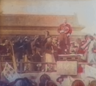 Sun Yat-sen proclaiming the establishment of the ROC in 1912 Republic of China proclaimtion.png