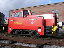 Rolls-Royce Sentinel diesel locomotive, painted in the bright red livery of Esso petroleum