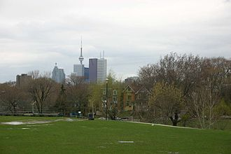 Riverdale, Toronto - View of downtown from Withrow Park.