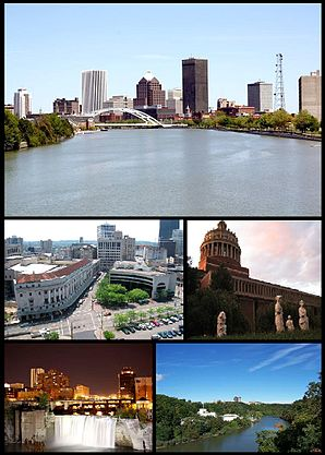 Bilder von links nach rechts; Skyline von Rochester, The Eastman Theater, University of Rochester, High Falls district, Eastman Kodak Forschungsabteilung