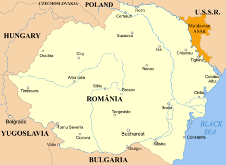 Moldavian ASSR (in orange) and Romania, 1924-1940 Romania MASSR 1924.png
