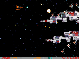 "Video game genre - This space-themed video game is a shoot 'em up, or a ""side-scrolling shooter."""