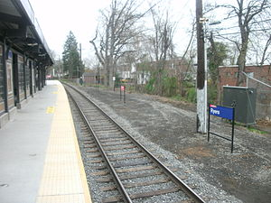 Ryers station - The current high-level platform at Ryers looking towards Fox Chase (March 2012)