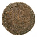 Ryskt mynt av koppar, Ekatharina II Imperatrix, 1780 - Skoklosters slott - 108162.tif