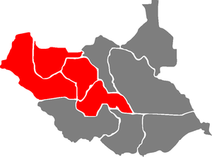 Demographics of South Sudan - The historic Bahr el Ghazal Region (in Red) contains the South Sudan states of Northern Bahr el Ghazal, Western Bahr el Ghazal, Lakes, and Warrap, and is inhabited mainly by the Dinka people, with a large number of Moslem Arab tribes in the Western Bahr el Ghazal state.
