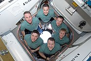 STS-130 Crew in the Cupola