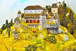 Sachsenburg Modell obere Burganlage von 1730 23012011 057