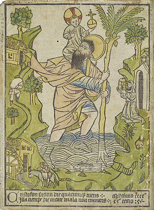 Saint Christopher - The earliest known woodcut, 1423, Buxheim, with hand-colouring