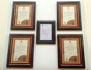 Saint Patrick Church (Columbus, Ohio) - Missionary of Mercy certificates posted in the church hall