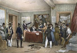Adolphe Thiers - The police seize the presses of Thiers' newspaper, the National (July 1830)